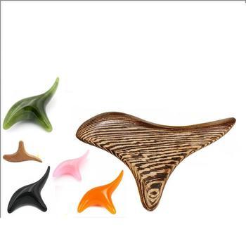 JADE VERDE/bian stone/cera de abeja alcanfor madera trigonométrica pegatina reflexología salud Thai pie cuerpo masaje madera palo herramienta