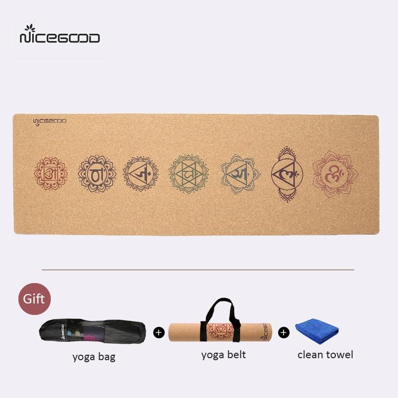 NICEGOOD 3 MM Non Scivolare Sughero Stuoia di Yoga Gomma Naturale per Il Fitness Professionale degli uomini e delle Donne Pilates Ginnastica esercizio Stuoie