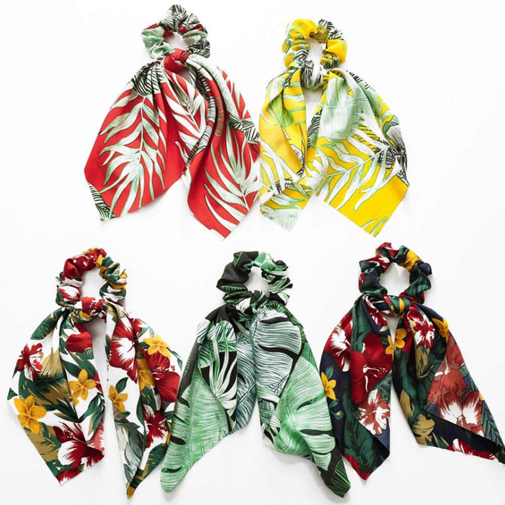 DIY arco serpentines elásticos cabello Scrunchies bohemio Floral impreso anudado cinta Cola de Caballo bufanda lazos para el cabello mujeres niñas anillos para el cabello