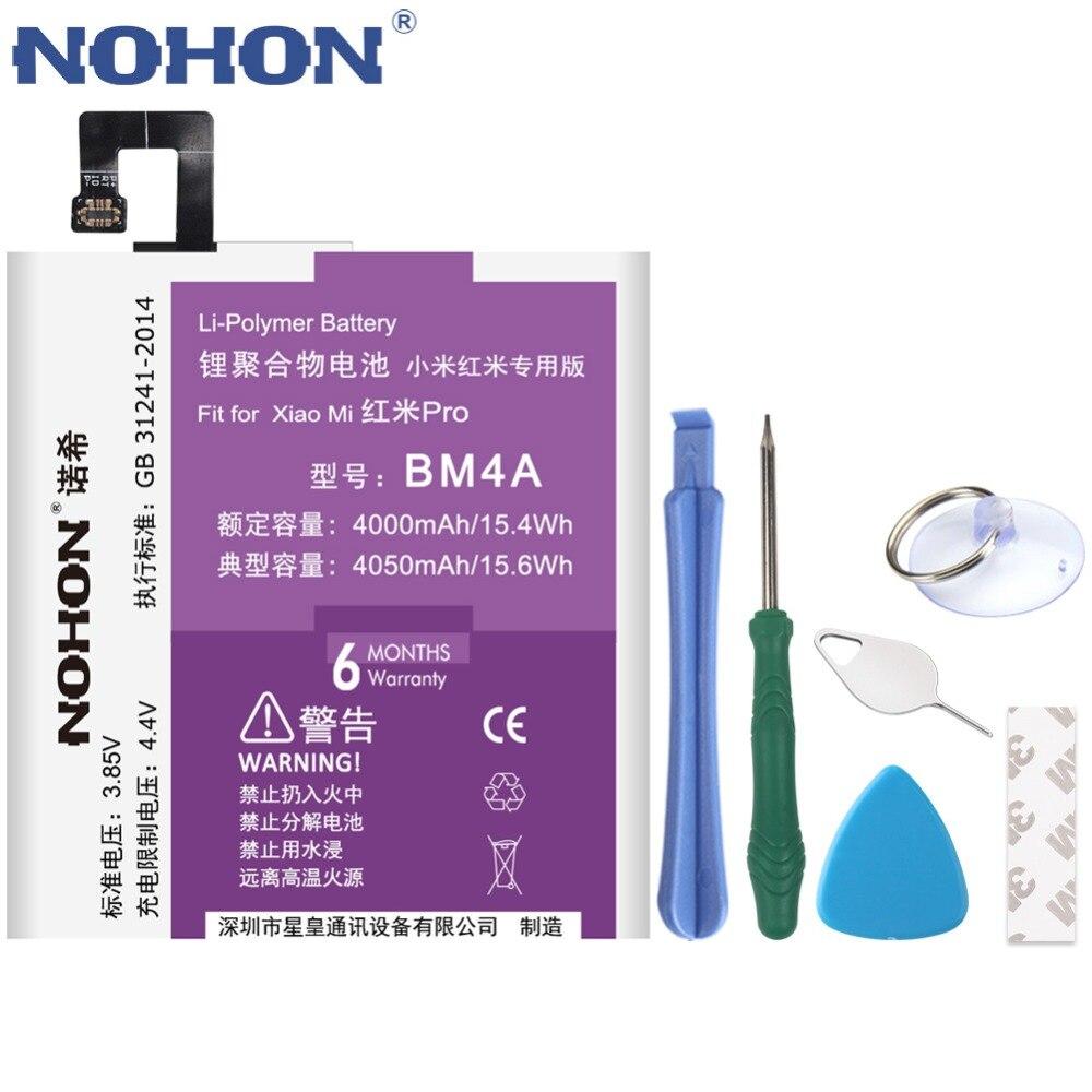 D'origine NOHON Batterie BM4A Pour Xiaomi Redmi Pro Remplacement 4050 mah Hongmi Pro Téléphone Lithium-Polymère Bateria Livraison Outils De Réparation