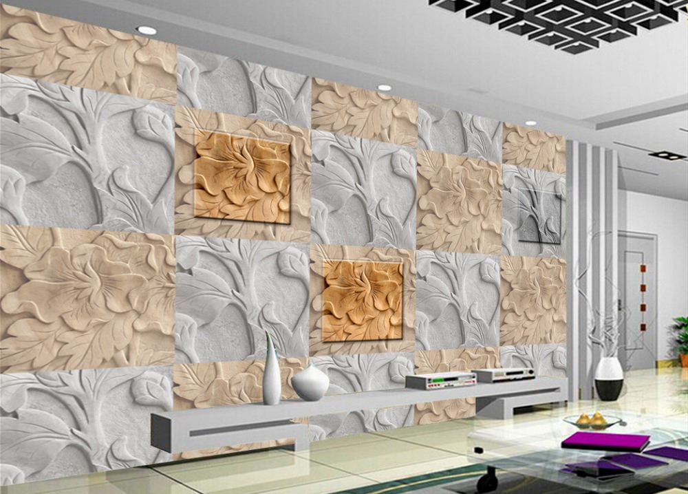 3d murals wallpaper for living room Relief stone backdrop Home