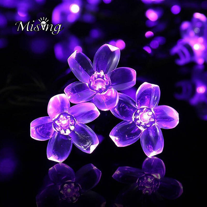 Mising 5M 50 LED 3*AA Battery Cherry Flower String Lights Outdoor Garden Decoration Cute Fairy Lamp for Festival Christmas Party