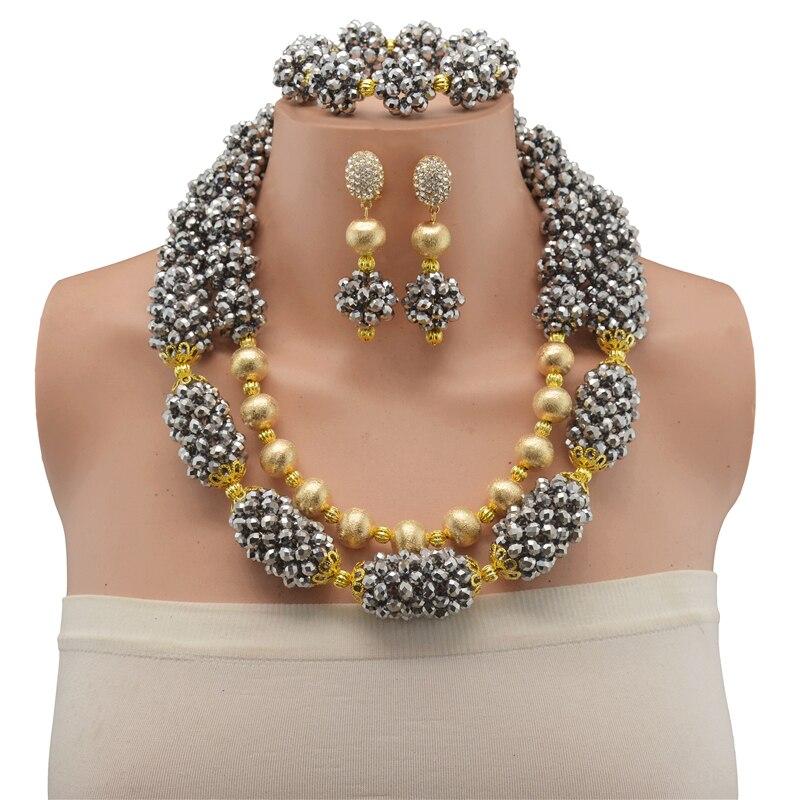 Ensemble de bijoux en perles de mariée en cristal véritable ensemble de boucles d'oreilles en argent de mariage indien ensemble de bijoux en or pour mariage africain nigérian