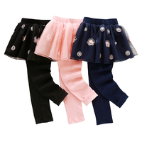 Kids Skirt Pants Cake Skirt 2017 Autumn Winter Baby Girls Leggings Lace Floral Printed Warm Pants