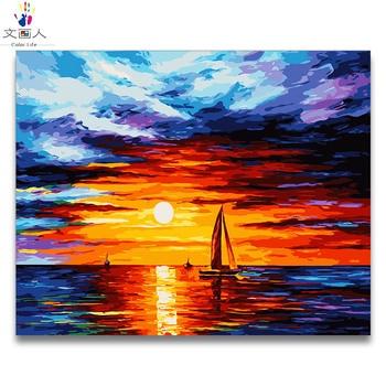 DIY Mewarnai dengan Angka Abstrak Pemandangan Laut Matahari Terbit Seri Gambar Lukisan dengan Angka Laut dengan Warna Gambar Dibingkai untuk Orang Dewasa