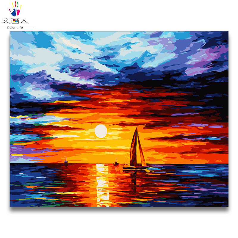 Diy Coloring By Numbers Abstract Seascape Sunrise Series Pictures Paintings By Numbers Sea With Colors Drawing Framed For Adults