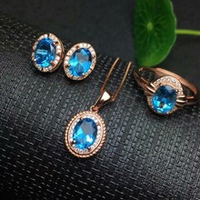 цены shilovem 925 sterling silver Natural blue topaz Rings pendants earrings fine Jewelry open send necklace ctz07090507agb