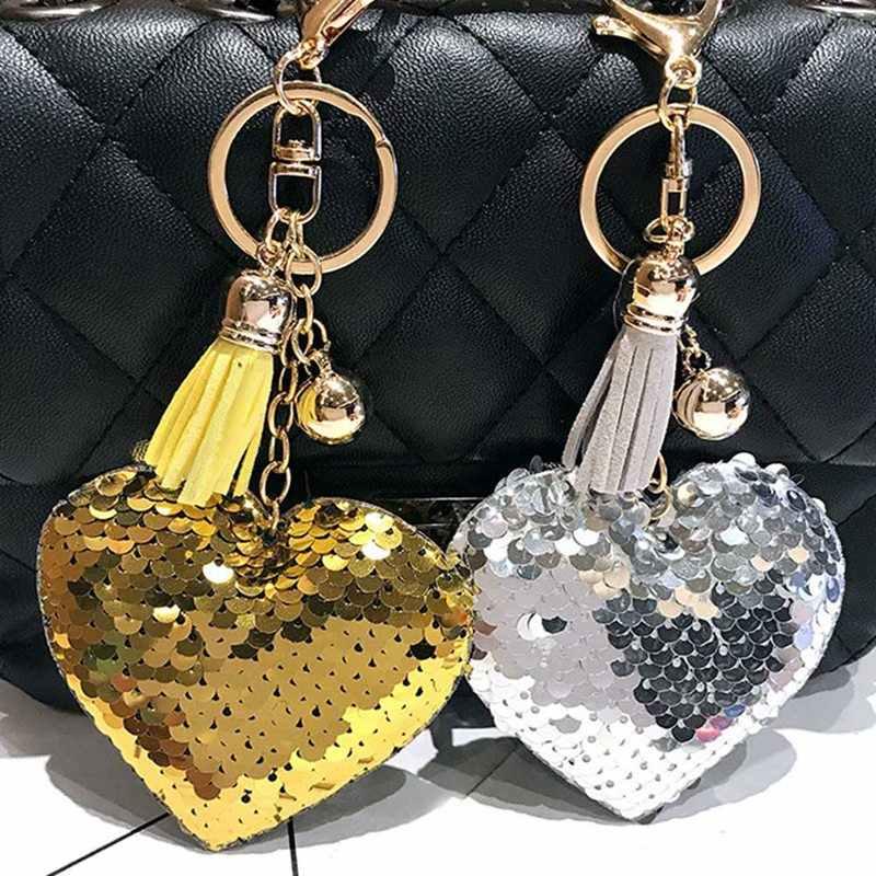 Bling Heart Keychains Tassel Glitter Sequins Love Heart Small Metal Ball  Pendants KeyRings Women Charm Purse 3aa6d9c05318