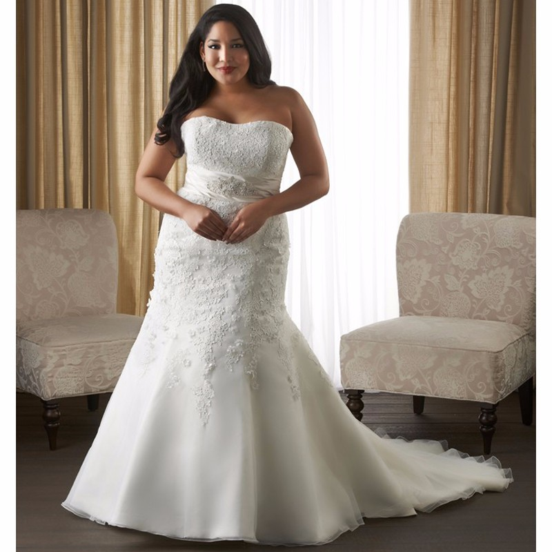Fit and Flare Ivory Plus Size Wedding Dresses Strapless ...