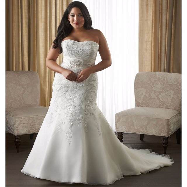 Fit And Flare Ivory Plus Size Wedding Dresses Strapless Mermaid Bridal Gown Liques Organza Lace Up