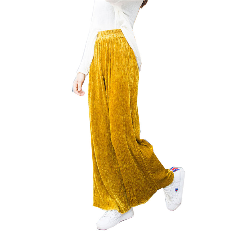 New Autumn Fashion Women Gold Velvet   Wide     Leg     Pant   All-match Legging Casual Long Pleated   Pant   Winter Female   Pants   Trousers WZ091