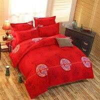 4 יחידות פוליאסטר באיכות גבוהה בסגנון הסיני אדום עלה מצעים סט מצעים כיסוי מיטת השמיכה כיסוי הציפית סדין מתנה לחתונה