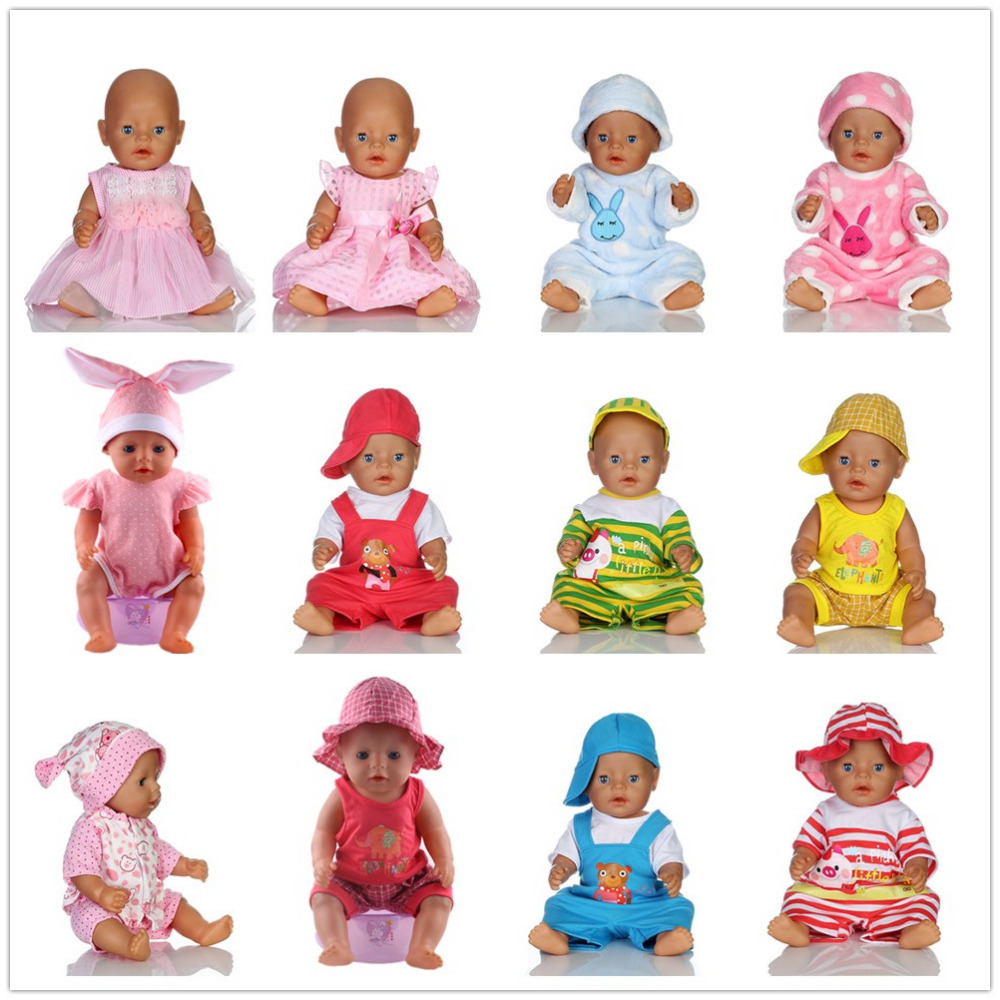 15color choose 1set= Rabbit pajamas clothes Wear fit 43cm Baby Born zapf, Children best Birthday Gift(only sell clothes) 4color choose set clothes hairbrand wear fit 43cm baby born zapf children best birthday gift only sell package