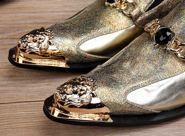 Ch。kwok鉄ヘッドメンズスリップオン本革oxfiordsゴールド/グレートップ品質パーティードレスウェディング靴男性tenis femininon
