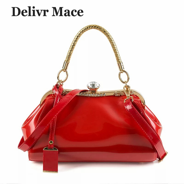 979280f8d59b Cross Body Bags For Women Patent Leather Red Wedding Luxury Handbags Women  Bags Designer Shoulder Bags