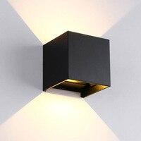 Lámpara de pared Led de aluminio resistente al agua para exteriores  luz de pared Led de superficie ajustable para exteriores  luz de pared blanca/negra para arriba y abajo