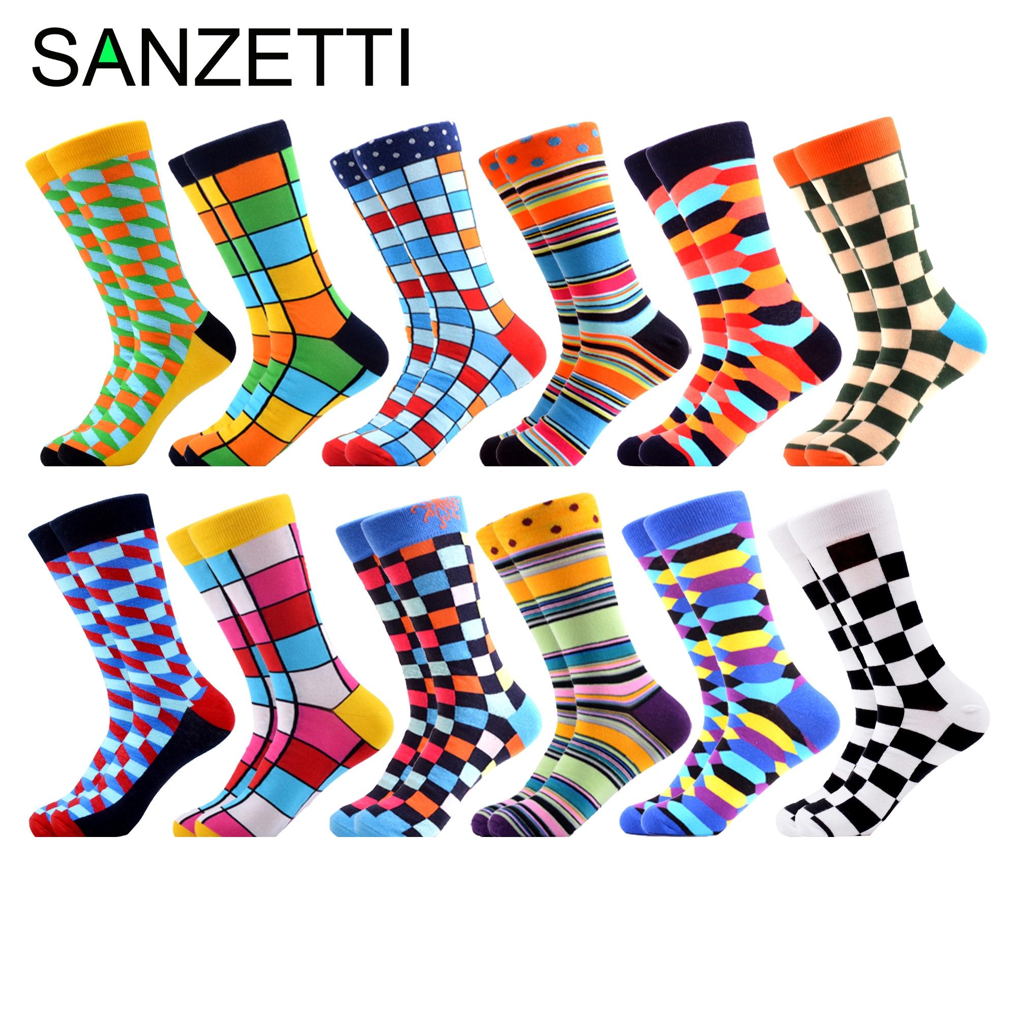 SANZETTI 12 Pairs/lot Men's Colorful Argyle Combed Cotton Socks Funny Striped Dot Multi Set Dress Casual Crew Socks Happy Socks