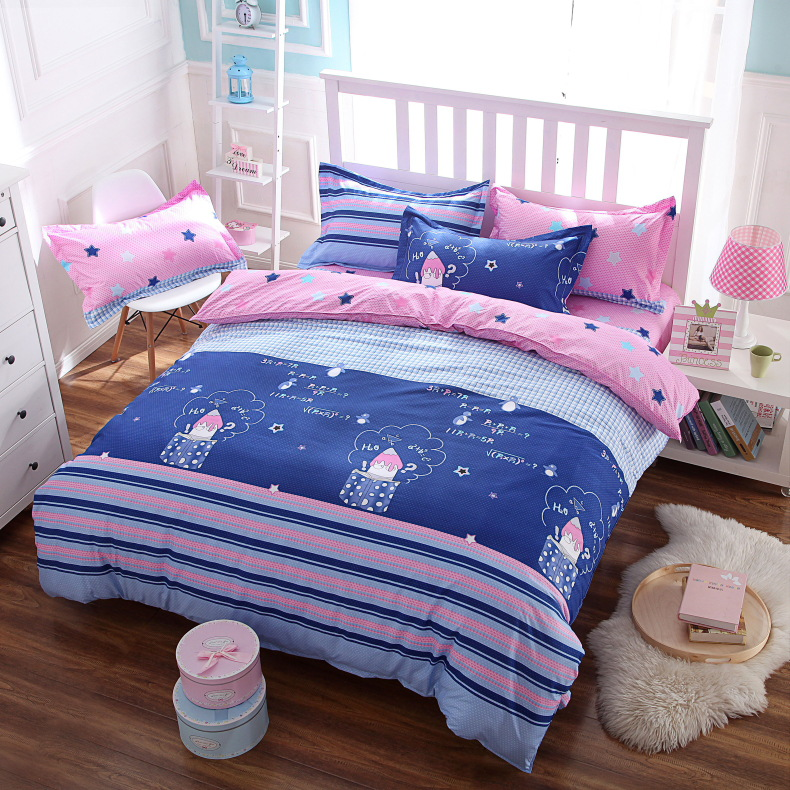 Cartoon Style Washed Cotton 4pcs Bedding Set Duvet Cover