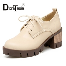 DoraTasia Big Size 34-43 Lace Up Thick High Heel Shoes Woman Fashion PU Leather Platform Pumps Women Ladies Casual Shoes