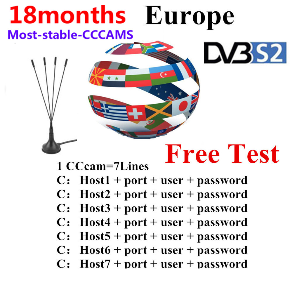 2019 Stable Cccams 6/7lines 1.5 Year For Europe Ccam Spain Portugal Poland Italy Satellite TV Receiver