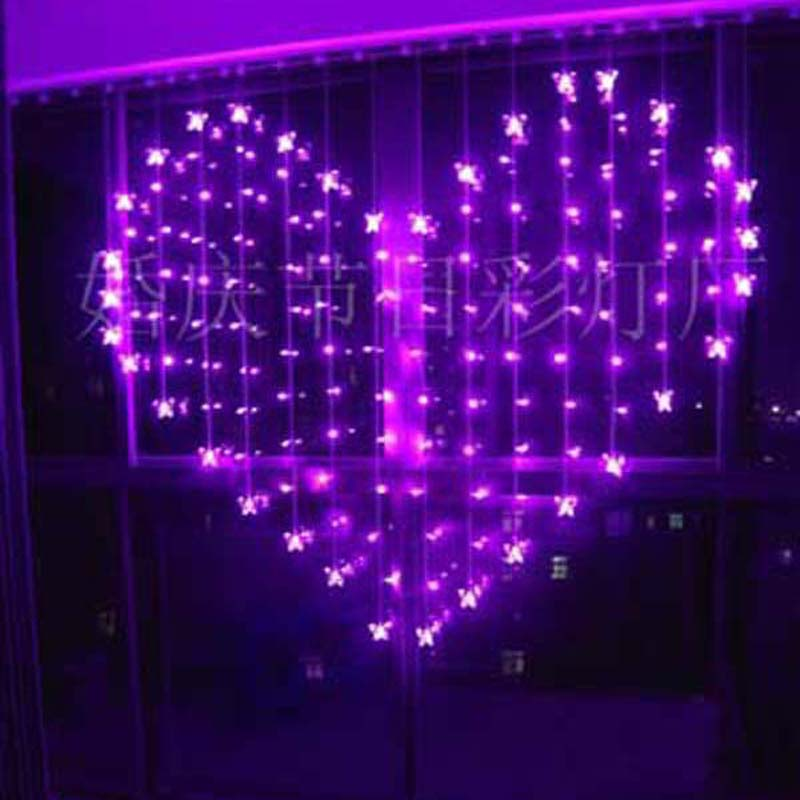 YIMIA 2x1.6m Heart Icicle Curtain Light 128 LED Holiday Christmas Lights 34 Butterfly LED String Fairy Lights Wedding Decoration