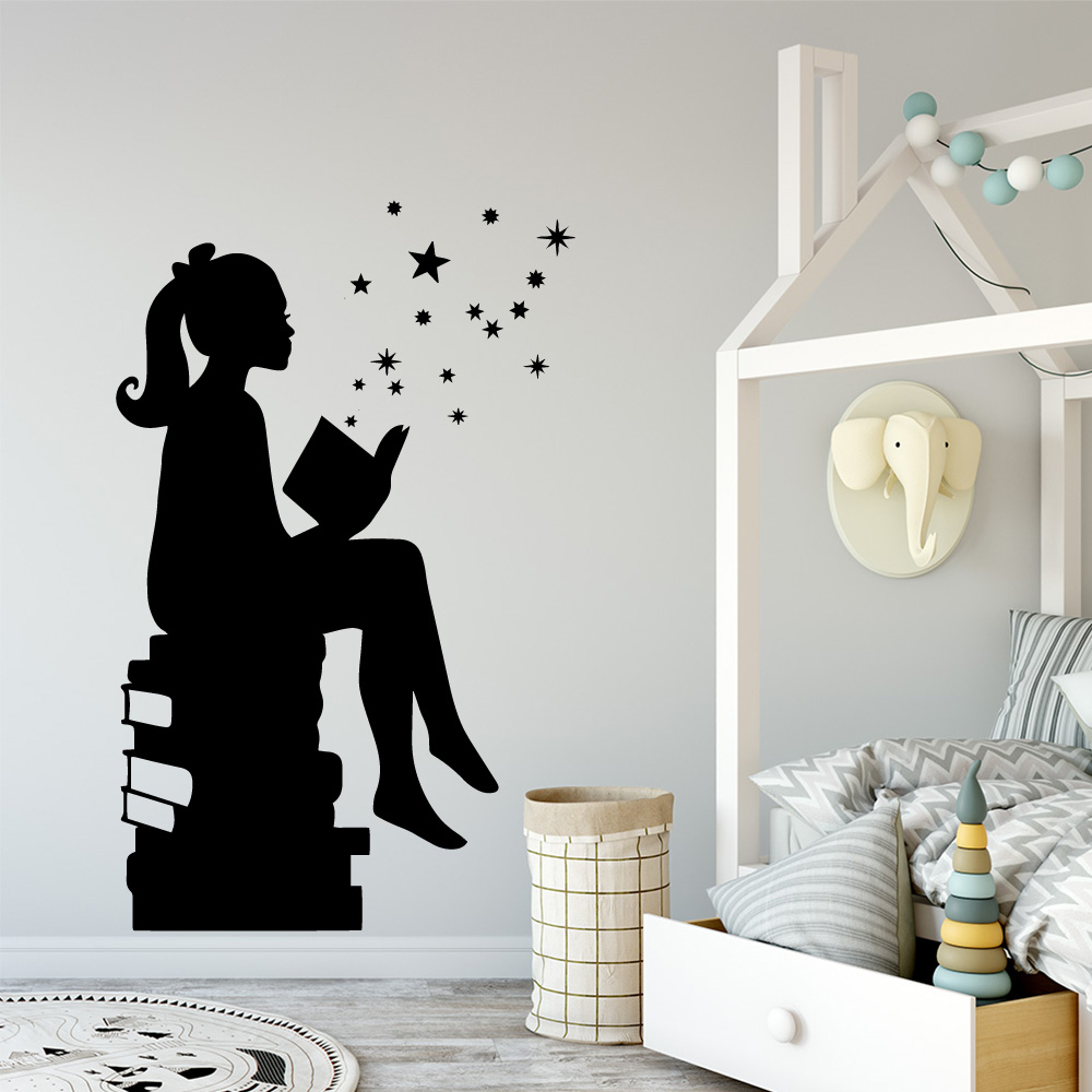 Lovely Study Girl Book Wall Decal Living Room Removable Mural For Children 39 s Room Decoration Waterproof Wall Art Decal in Wall Stickers from Home amp Garden