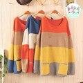 Japanese Harajuku Kawaii Wide Stripe Hoodie Cotton Loose Long Sleeve Sweater Moe