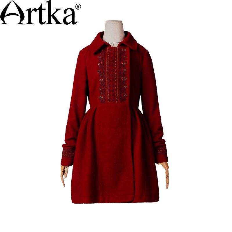 ARTKA ฤดูหนาวผู้หญิงเสื้อขนสัตว์เย็บปักถักร้อย Outerwear Turn   Down Collar เสื้อกันหนาวเสื้อกันหนาวสุภาพสตรี Vintage แจ็คเก็ตหญิงเสื้อ FA10242D-ใน ขนสัตว์และขนสัตว์ผสม จาก เสื้อผ้าสตรี บน   3