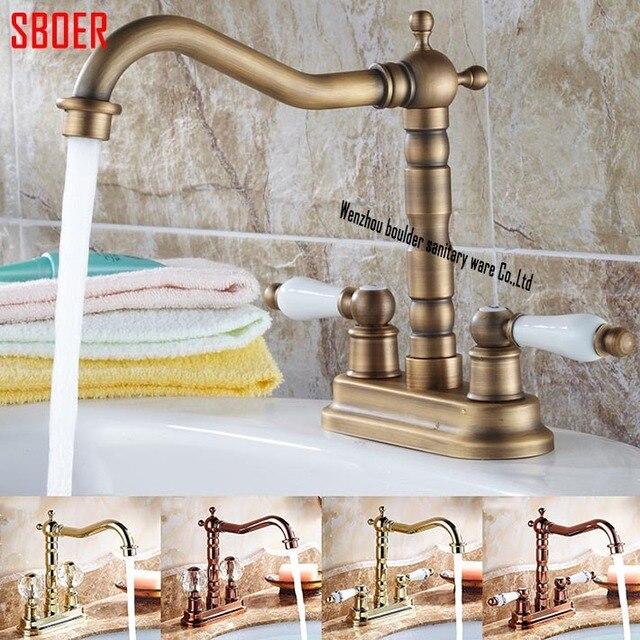 Hot Sell Antique Brass Basin Faucet Dual Holeshandles Centerset