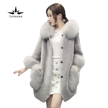 Leiouna Winter Nylon Quilted Jacket High Coat Women Faux Fur Collar Hooded Medium-long Overcoat S-4XL Parka Mujer New