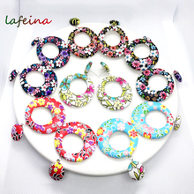 Fashionable Individual Flower-pattern Large Round Artificial Leather Earrings Minimalist Jewelry Female Hanging Gift