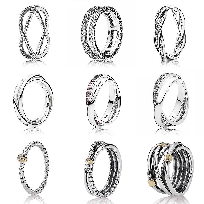 Doble corazones dulce promesa anillo con cristal de Plata de Ley 925 firma anillo para mujer regalo de boda de la joyería de Pandora
