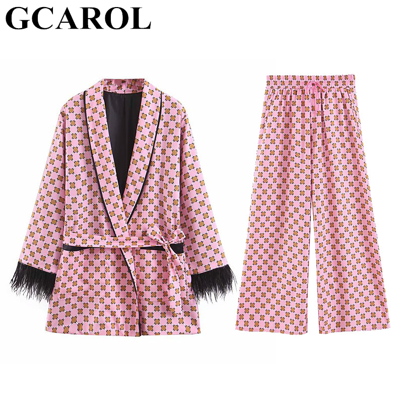 GCAROL 2019 Women'Sets 2 Pieces Kimono Geometric Floral Coat With Sashes Elastic Waist Wide-Leg Pants Chic Retro Outfits