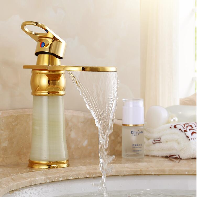 New Deck mounted brass and Jade Waterfall faucet Bathroom Basin faucet Mixer Tap Gold Sink Faucet Bath Basin Sink FaucetNew Deck mounted brass and Jade Waterfall faucet Bathroom Basin faucet Mixer Tap Gold Sink Faucet Bath Basin Sink Faucet