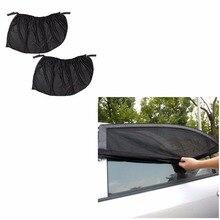 2pcs Auto Car Side Rear Window Sun Visor Shade Black Mesh Fabric Cover Shield Sunshade UV Protector Abat Vent Solar Protection