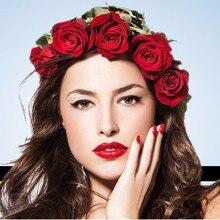 Bride Women Rose Flower Crown Hairband Wedding Flower Headband Elastic Headdress flower girl head wreath Hair
