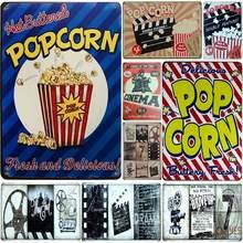 [SQ-DGLZ] popcorn & cinema barra de parede de metal, decoração de lata, sinais vintage de metal, decoração de casa, pintura placas pôster artístico