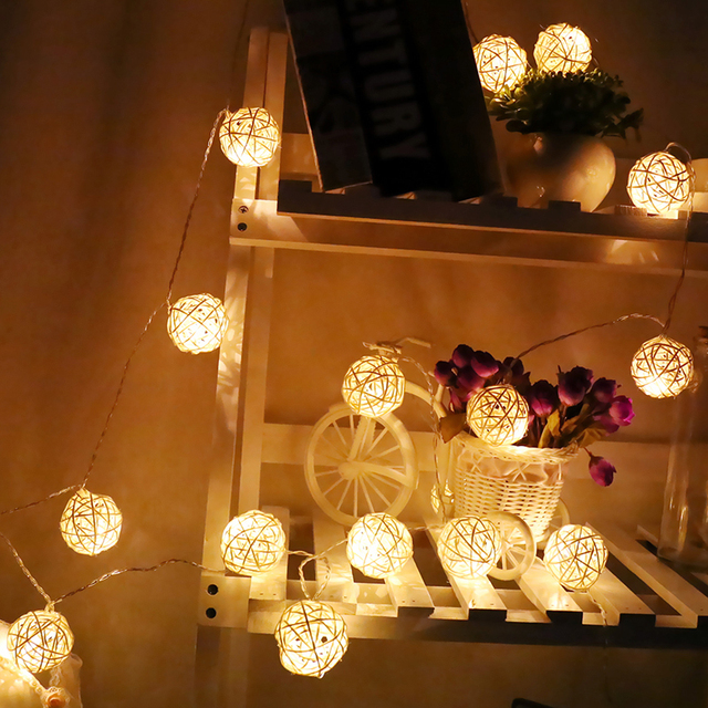 Handmade Rattan Ball String Lights With Timer Battery Operated 20 Warm White Led Christmas Indoor Fairy For Bedroom