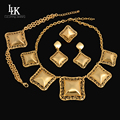 Fashion Vintage Dubai Real Gold Plated Jewelry Set Charm Classic The Great Wall Pattern Big Jewelry For Women Bridal Costume