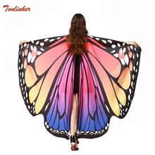 Women Butterfly Wing Cape Peacock Fabric Female Butterfly Wings Shawl Scarves Ladies Nymph Poncho Costume Accessory butterfly wing cape pashmina