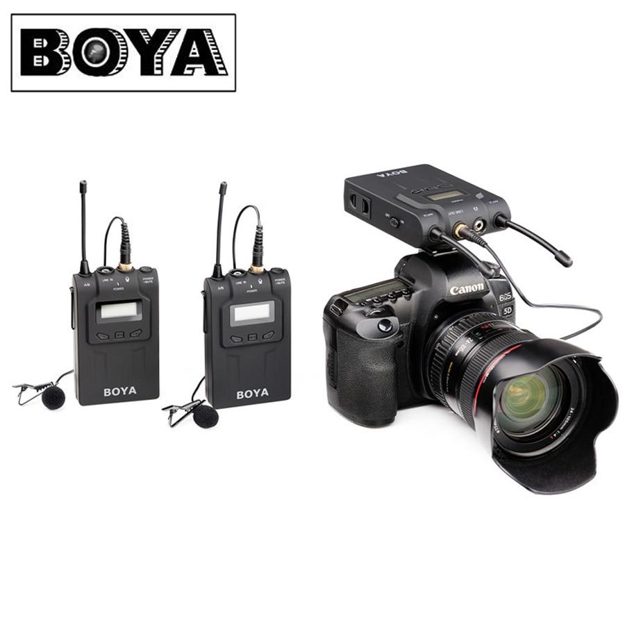 BOYA BY WM8 UHF Dual Беспроводной петличный микрофон Systerm Lav интервью Mic 2 Передатчики 1 приемник для DSLR видео Камера