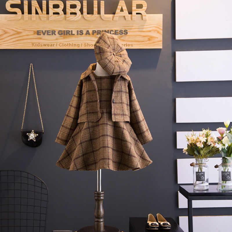 Inglaterra Estilo Moda Inverno Único Breasted Boina Chapéus das Crianças Tanque Vestido Xadrez de Lã de Algodão de Três Peças Ternos Da Menina Nova conjunto