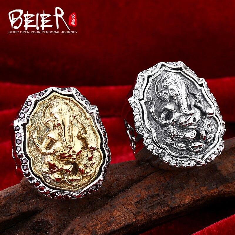 Beier bijoux 2015 punk animal anneau hailand quatre mains incrusté gemmes éléphant homme anneau D0711