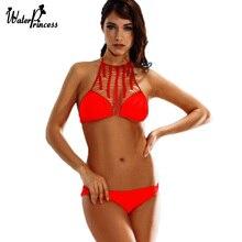 2016 New Sexy High Neck Bikini Bandage Swimwear Cut Out Swimsuit Weave Retro Halter Bikini Set Brazilian Summer Beach Suit S1618