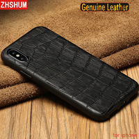 Luxury Genuine Leather Case For Apple Iphone X 8 7 Plus 6S XS MAX XR Crocodile Skin Pattern Case Full Back Cover for Iphone 6 10