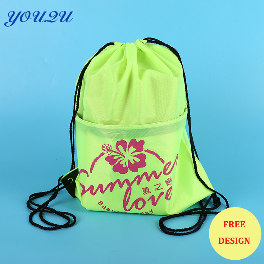 Custom Drawstring Bag With Zipper Pocket  Polyester Drawstring Bag With Zipper  Drawstring Backpack Bag With Front Zipper Pocket
