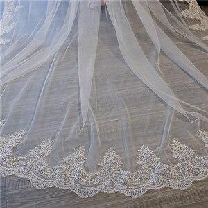 Image 5 - Foto reali nuovo 3*3 metri bella cattedrale lunghezza pizzo bordo matrimonio Brida EE9001