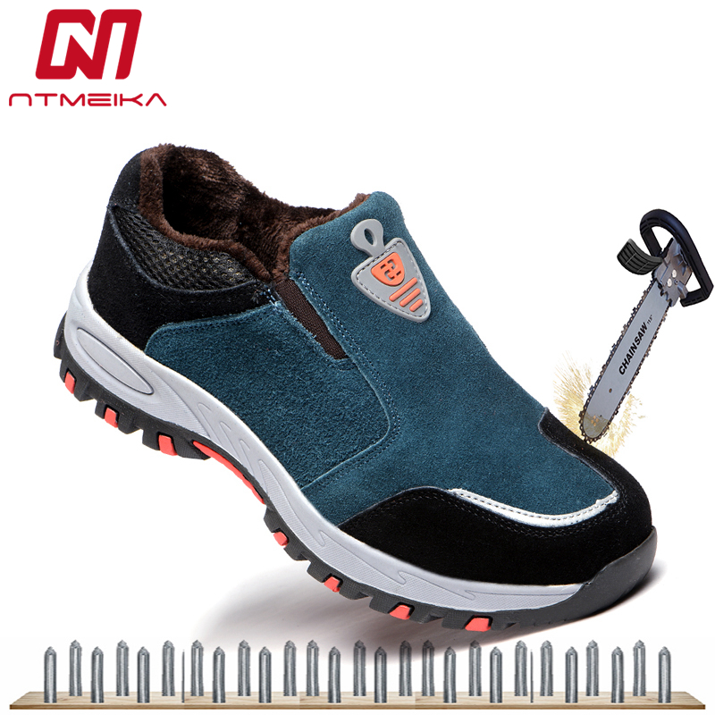 Plus Size 36-45 Men Work Safety Shoes Steel Toe Cap Steel Insole Genuine Leather Safety Boots Breathable Combat Boots For Men women safety shoes steel toe cap women summer breathable work shoes safety shoes for men casual steel toe boots sepatu safety