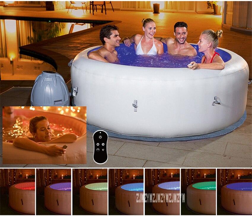Baignoire gonflable 196*66cm ronde adulte baignoire Portable salle de bains famille Spa piscine 806L 220V 2060W avec 7 couleurs lumière LED
