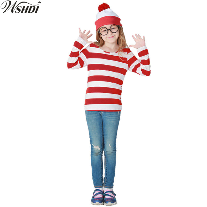 Kids Boys Girls Black /& White Stripe Jumper Halloween Fancy Dress Party Festive